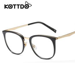 c0606e91f43 Vintage Square EyeGlasses Women Frame Glasses Metal Leopard Plain Lenses  Eyeglasses Women Brand Designer oculos de grau feminino