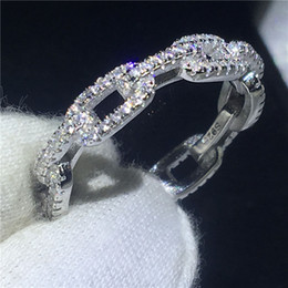 Wholesale handmade rings silver - Handmade Chain Shape Promise ring 100% Soild 925 Sterling silver Jewelry AAAAA Zircon cz Engagement wedding band rings for women