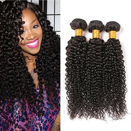 Wholesale Cheap Real Hair Extensions - Wholesale 3Pack Malaysian Virgin Curly Hair Weave Real Human Hair Weft Extensions 8A Cheap Bundle Hair Products Natural Color 95-100g pc