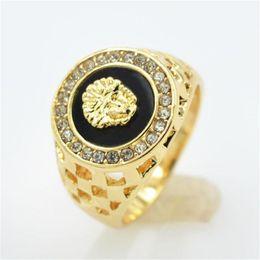 Relleno de oro online-nueva marca de alta calidad CZ diamond superhero mens rings gold filled 2016 figura de la manera anillo negro KKA1927