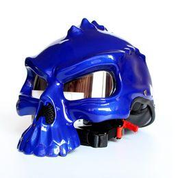 Wholesale Used Half - Masei 15 color 489 Dual Use Skull Motorcycle Helmet Capacete Casco Novelty Retro Casque Motorbike Half Face Helmet fast shipping