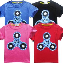 Fiadores de fidget azul on-line-Fidget spinner impresso Meninos T-shirt 3-9 anos menino azul vermelho tshirt top tees crianças roupas crianças roupas de verão