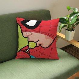 super eroi arte Sconti Copricuscino per Pop Art Super Hero American POP Lips Copricapo Batman Superman Spider Man per Cartoon Copricuscino in cotone decorativo