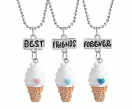 Wholesale Heart Bff Necklaces - 3D BFF Best Friends Forever Resin Heart Ice Cream Pendant Necklace for Women Kids Jewelry