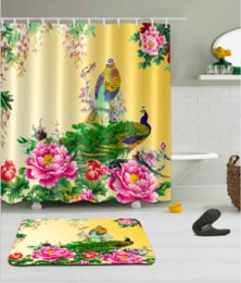 Digital 3d Flower Shower Curtain Polyester Waterproof Peacock Bath Curtains For Room With 12 Hooks Floor Mat Sets