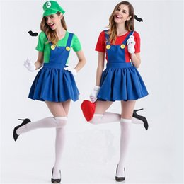 Wholesale carnival uniforms adults - sexy Halloween Super Mario Costume Disfraces Adultos Carnival Costume Adults Women Anime Cosplay Costumes Super Mario Bros on sale