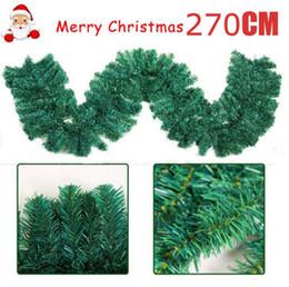 Decorazioni di albero di natale verde online-2.7m (9ft) verde artificiale ghirlande di Natale Garland Camino Corona per Natale Anno nuovo albero casa della decorazione del partito 160H / 200H / 280H