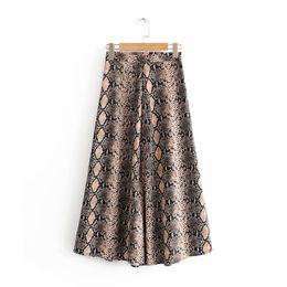Novas Mulheres impressão de pele de cobra Do Vintage saia longa faldas mujer senhoras vestidos de cintura alta chic lado zipper midi saias QUN127 C18111301 de Fornecedores de cortar pregos