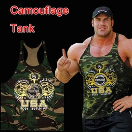 Wholesale vest military - Military Style Camouflage Tank Stringer Fitness Men Movement Undershirt 100 %Cotton Bodybuilding Tank Top Golds Fitness Vest