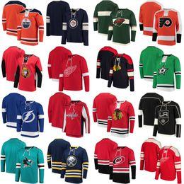 Wholesale Full Hats - 2018 No Hat Hoodies Jersey Minnesota Wild Chicago Blackhawks Ottawa Senators Edmonton Oilers Carolina Hurricanes Dallas Stars Jerseys