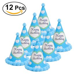 Wholesale pageant dresses adults - 12pcs Paper Party Cone Hats Dress Up Girls Boys Favour Supplies For Kids Adults Birthday Pageant Celebration