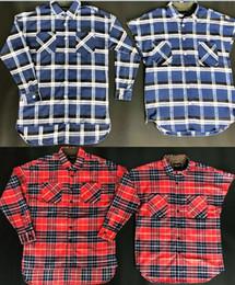 camicie marrone casual Sconti 2018 New Fear Of God Camicie Uomo Donna Alta Qualità Justin Bieber Camicie a righe in flanella Camicia elegante marrone blu Camicie moda