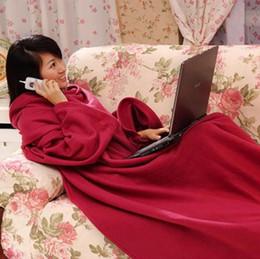 Wholesale Snuggie Blanket Wholesale - Fleece Snuggie Sleeved Blanket Robe Cloak With Cozy Sleeves Wearable Sleeve Blanket Wearable Lazy Blanket 3 Colors