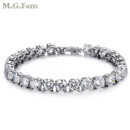 Wholesale Elegant Chains - MGFam (269B) AAA + Cubic Zircon White Bracelets Jewelry For Women 18.5 cm Elegant Style Gold Plated