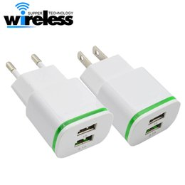 Wholesale Eu Phone Charger - Universal 5V 2A EU US LED Light Dual USB Ports Mobile Phone Wall Travel Power Charger Adapter For Samsung iPhone Smartphones