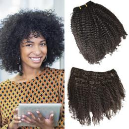 Productos para el cabello de las mujeres negras online-Los productos más vendidos 4a, 4b, Afro rizado Clip en extensiones de cabello humano Venta al por mayor Barato para mujeres negras G-EASY