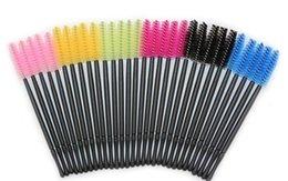 Wholesale Makeup Brush Set Red - Eyelash Eye Lash Makeup Brush Mini Mascara Wands Applicator Disposable Extension Tool Black Blue Yellow Pink Green Rose red 6 colors free