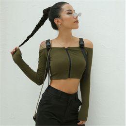 Женские модные твёрдые майки онлайн-Trendy Women clothes Off Shoulder zipper strap solid Tops cotton casual Long Sleeve Slim T-shirts one pieces