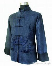 Wholesale Coats Chinese Collars - Wholesale- Gold New Traditional Chinese Men's Fleece Embroidery Jacket Coat Long sleeve Tang Suit Dragon Size S M L XL XXL XXXL M1148
