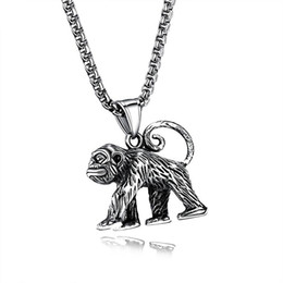 zodiac steel pendant Coupons - FUNIQUE 2018 Antique Silver Color Stainless Steel Pendant Necklace For Men Punk Zodiac Monkey Chain Necklace Male Retro Jewelry