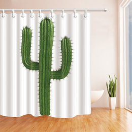 Wholesale showers curtains - Green Cactus Plant Fashion Shower Curtain 70 x 70 In Mildew Resistant Waterproof Polyester Fabric Decoration Hanging Curtains Free shipping