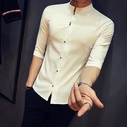 Wholesale Trend Fashion Jacket Korean - 2018 Spring And Summer New Korean Youth Shirts Men's Casual Slim Five-point Sleeves Jacket Simple Wild Fashion Trend