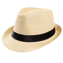 3d56a0b7f2f Hat 1pc Hat Unisex Trilby Gangster Cap Beach Sun Straw Band Sunhat Fashion  Accessories 2018 oct25
