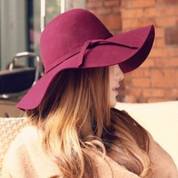 chapéus de senhoras de poliéster Desconto 2018 Primavera de Poliéster De Lã Sólida Mulheres Inverno Bucket Fedoras Chapéu De Aba Larga Dome Feminino Floppy Gorros Top Hat Senhoras Femininas Cap