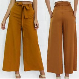 ae7c960d9d0a Fashion Womens Ladies Palazzo Pants Korean Style High Waisted Wide Leg  Trousers Loose Casual Bandages Long Pant wide leg pants korean style on sale