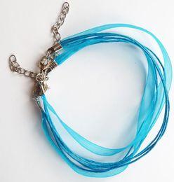 Colares de fita adesiva on-line-100pcs LT Azul Organza Ribbon Cord Necklace - Colar Fecho Fazendo Correntes