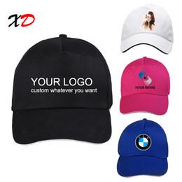 wholesale ball caps custom embroidery UK - Custom baseball cap 100% cotton print logo text photo embroidery casual solid hats black color cap Snapback adjust male female