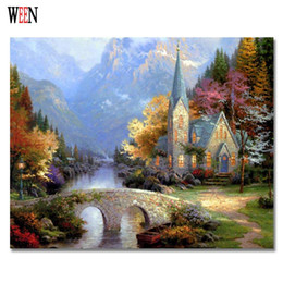 Wholesale castle wall art - WEEN Castle Bridge Painting By Numbers DIY Handpainted oil Wall Pictures For Home Art Decor On Canvas Poster Coloring by Number