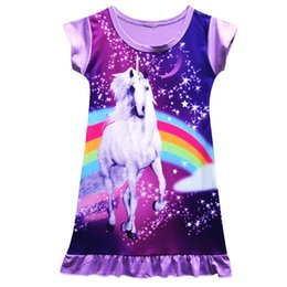 Deutschland Girl's Mid Länge Einhorn Rock Cartoon Kleider 2018 Sommer Mädchen Kurzarm Nachthemd Lange Nacht Rock Sleep Kinder Pajames cheap dress sleep for girls Versorgung