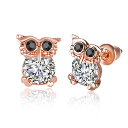 Wholesale Foreign Gold Earrings - Plated gold ornaments gold rose ornaments owl foreign trade earring accessories 276