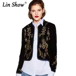 Wholesale Crochet Autumn Patterns - LINSHOW Ethnic Sequins Embroidery Floral Women Bomber Jackets Pattern Coats Casual 2016 Autumn Outwear Crochet Ladies Cardigan