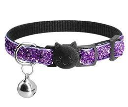 Campane per gatti per collari online-Collare del gatto del collare di Bling del collare di Bling del collare di rilascio rapido libero all'ingrosso dei colletti di cucito del cucciolo con la sicurezza sveglia della campana per il cane del gattino regolabile