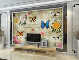 Flores borboleta parede murais on-line-3d papel de parede personalizado foto Americano Vintage Idílico Flor Borboleta Bar Restaurante murais de parede para paredes 3 d wall-papers 3d em uma parede
