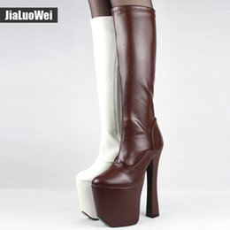 Wholesale exotic heels - JIALUOWEI Sexy Thick Platform Women Knee-High Long Boots 20cm Extreme High Heel -Exotic,Fetish,Sexy,Shoes