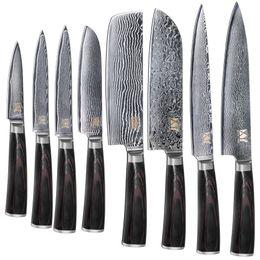 Wholesale Nouvelle marque VG10 couteau en acier Damascus ensemble couleur manche en bois japonais couteau de cuisine en acier vente chaude professionnel couteaux ensemble