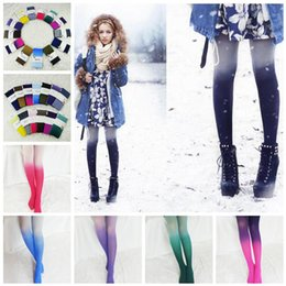 Wholesale Gradient Color Leggings - Women 120D Velvet Tights Candy Color Gradient Opaque Seamless Stockings Tight Pantyhose Female Pantys Medias 12 Colors OOA4083