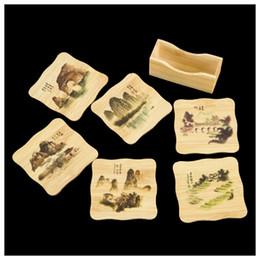 Современная каллиграфия онлайн-6 шт Китайская каллиграфия Картины Бамбуковые кувшины Кубки Маты с держателем