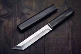 Hoja fija de acero de damasco online-Cuchillo de alta calidad Katana VG10 Damasco Acero Tanto Cuchilla de ébano con cuchilla fija con vaina de madera Colección de cuchillos