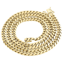 Wholesale Yellow Gold Chain 22 - 10K Yellow Gold Solid Miami Cuban Link Chain 7mm Box Clasp Necklace 22-30 Inch