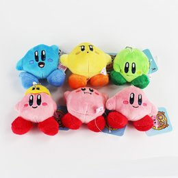 Wholesale mario plush figure - Super mario plush toy Lovely Kirby Stuffed Plush Pendants keychains Soft Toys 6pcs 7cm Free shipping