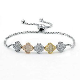 Wholesale Clover Movie - Pave Setting Cubic Zirconia Crystal CZ Zircon Four Leaf Clover Adjustable Bracelets for Women or Wedding in Assorted Colors