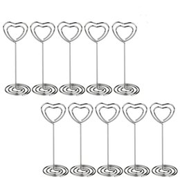 Wholesale Graduation Place Cards - 100 pcs Place Card Holder Heart Shape Wedding Party Faver Clips Holder Table Number