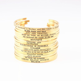 Wholesale gold hand cuff bracelet - Gold Color 316L Stainless Steel Engraved Positive Inspirational Quote Hand Stamped Cuff Mantra Bracelet Bangle For Women Jewelry