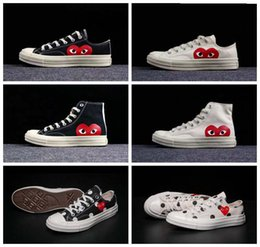 cycle shoes 44 Promo Codes - 2019 New All Stars Shoes CDG Canvas Big eyes Hearts 1970s Beige Black white designer Classic 1970 casual running Skate Sneakers 35-44