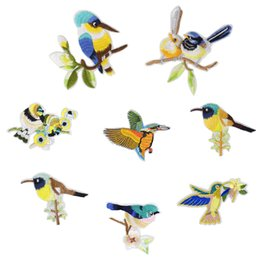 Wholesale Diy Clothes Dress Flowers - Top Quality Birds Patches for Clothing Bags Iron on Transfer Applique Patch for Dress Jeans DIY Sew on Embroidery Flower Stickers 8 styles
