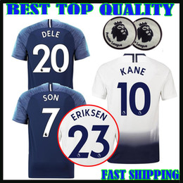 Wholesale premier men - 18 19 Premier League KANE soccer jersey Home away third white Soccer Jersey 2017 2018 LAMELA ERIKSEN DELE SON Away blue Football shirt